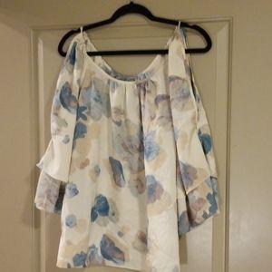 Floral open shoulder blouse